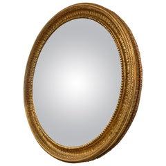 Large Regency Style Gilt Convex Mirror
