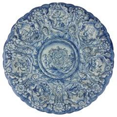 Large Renaissance Revival Cantagalli Maiolica Blue & White Charger