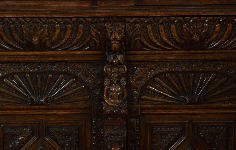 Large Renaissance Revival Carved Oak Three-Door Bookcase For Sale 1