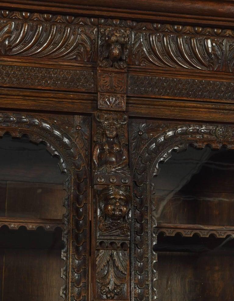 Large Renaissance Revival Carved Oak Three-Door Bookcase For Sale 2