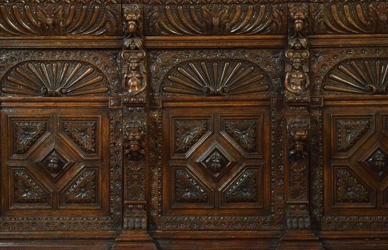 Large Renaissance Revival Carved Oak Three-Door Bookcase For Sale 3