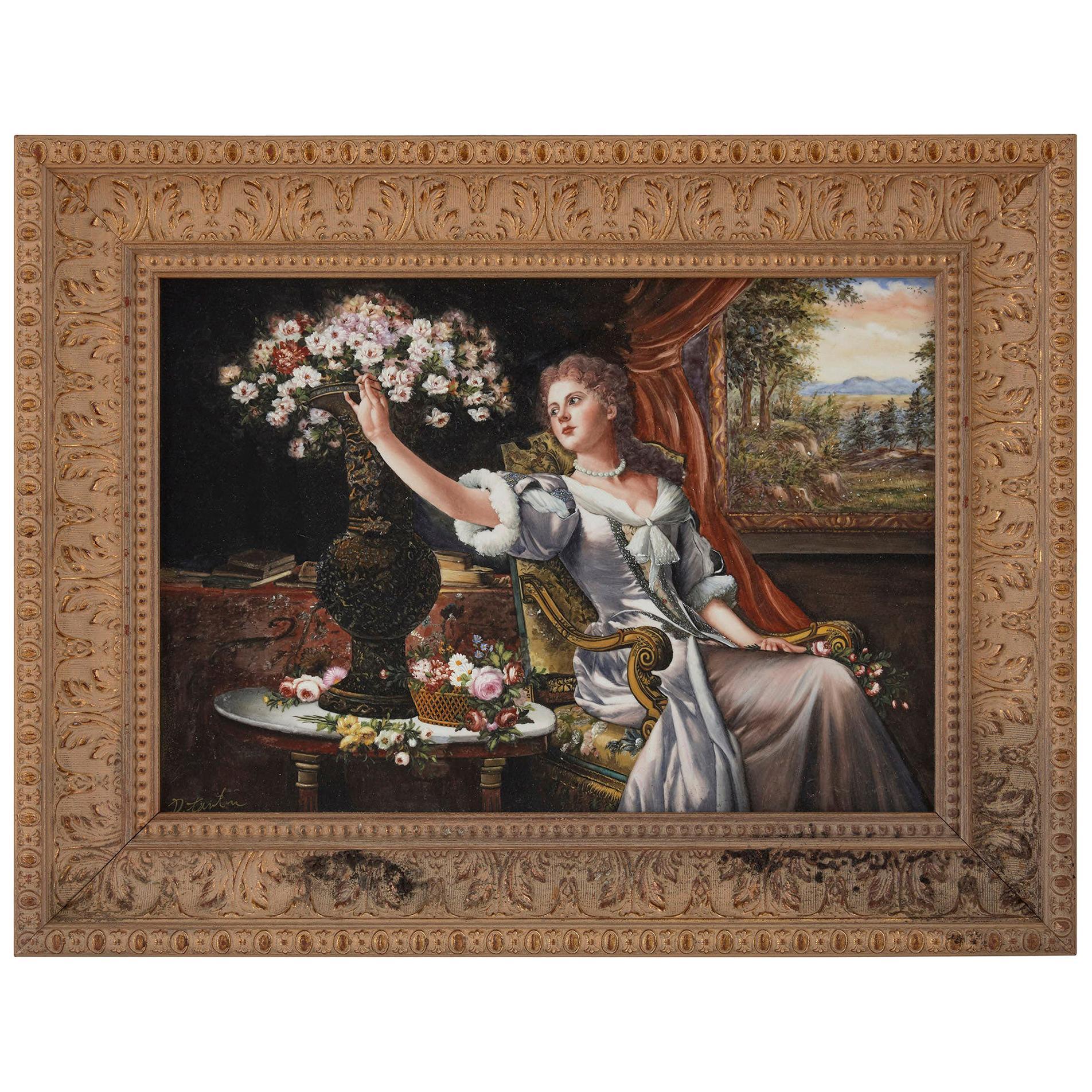Large Renaissance Style Painted Porcelain Plaque