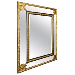 Large Repousse Gilt Metal Mirror