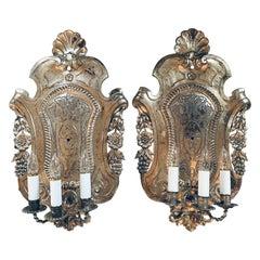 Large Repousse Metal Shieldback Three Light Sconces, Pair