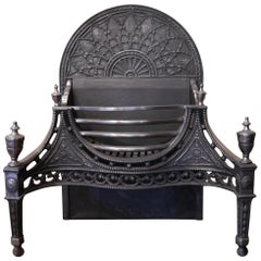 Large Reproduction Cast Iron Basket, One of a Pair