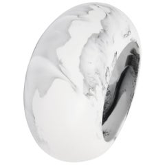 Large Resin Boulder Bangle in White Marble
