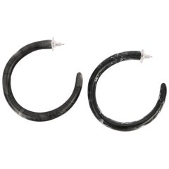 Large Resin Loop Earrings in Black Marble