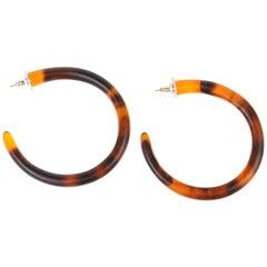 Large Resin Loop Earrings in Tortoiseshell