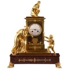 Large Restauratie Bronze Fire Gilt Figural Mantel Clock, France, circa 1820