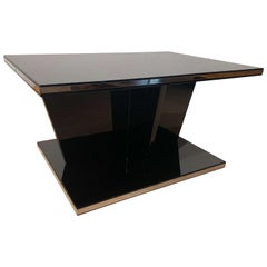 Large Restored Art Deco Sofa Table, Black Lacquer and Metal, France, circa 1930