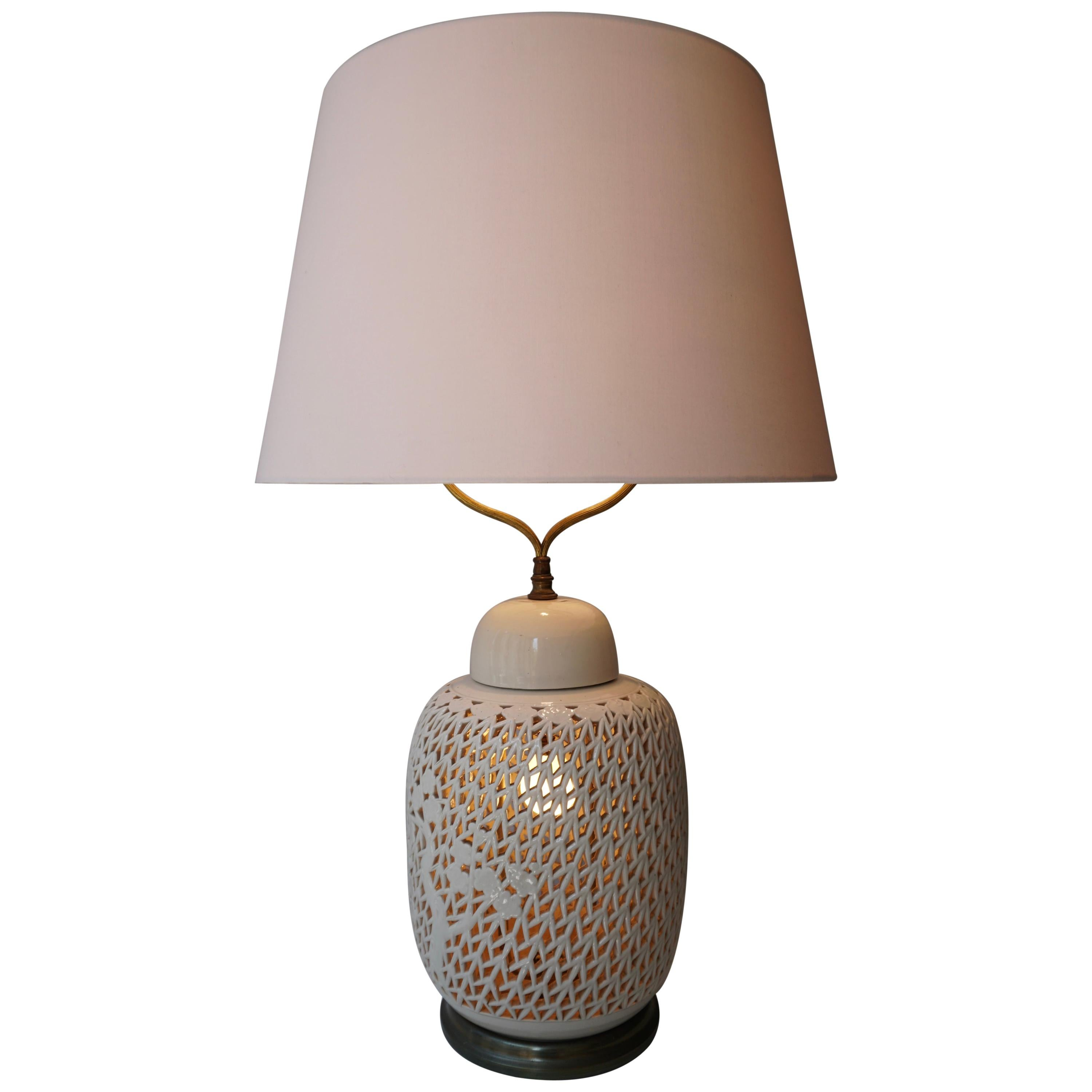 Large Reticulated Porcelain Blanc De Chine Table Lamp