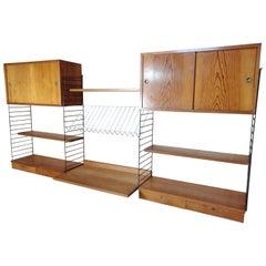 Large Retro 1960 String Metal Framed Desk / Cupboard / Drawers Wall System