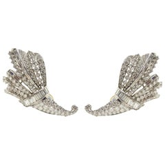 Large Retro Diamond Platinum Cornucopia Statement Earrings