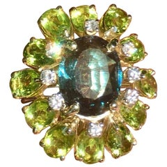 Large Retro Estate La Triomphe VS Diamond Peridot Spinel Cocktail Statement Ring