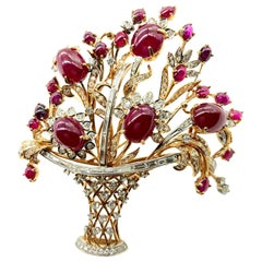 Large Retro Ruby and Diamond Giardinetti Flower Basket Statement Brooch