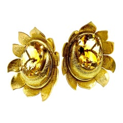 Large Retro Textured 14 Karat Yellow Gold and Citrine Earrings, Sun Moon Motif