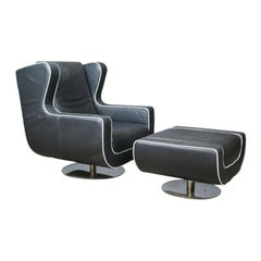 Large, Retro, Vintage, 1980s, Black Leather Armchair and Pouffe, Dondi Salotti