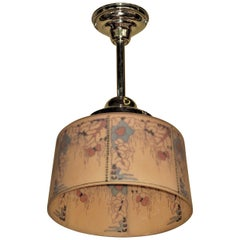 Large Reverse Painted Drum Shade