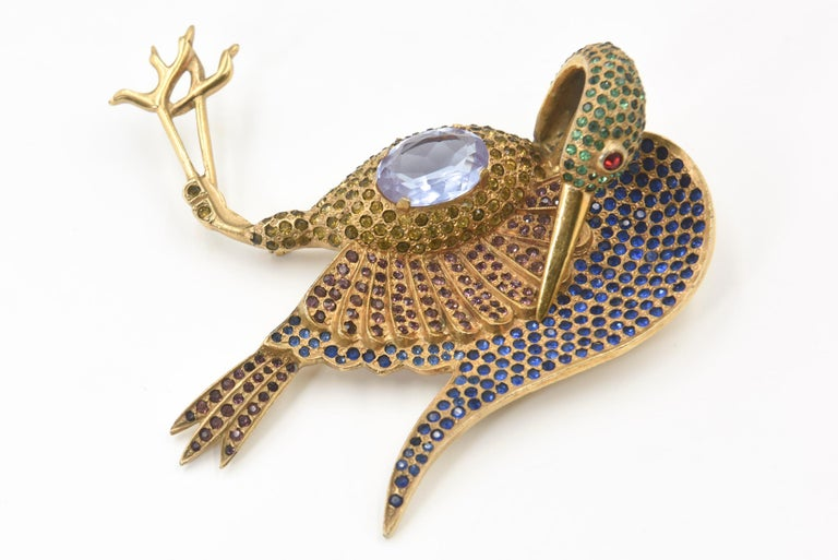 Large Rhinestone Crane Bird Gold Plated Brooch For Sale 3
