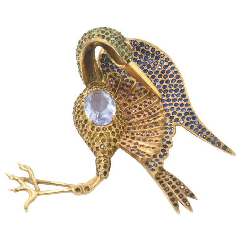 Large Rhinestone Crane Bird Gold Plated Brooch For Sale