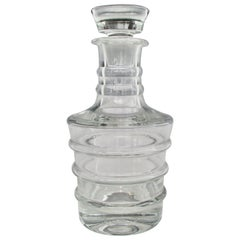 Large Ribbed Clear Glass Decanter with Stopper