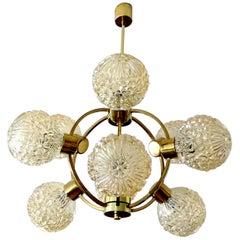 Mid Century Essig Sputnik Brass Flower Glass Globes Chandelier Pendant Light