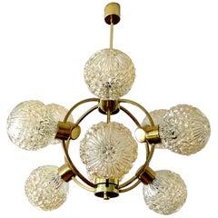 Large Richard Essig Sputnik Pendant Light Chandelier Brass Flower Glass Globes
