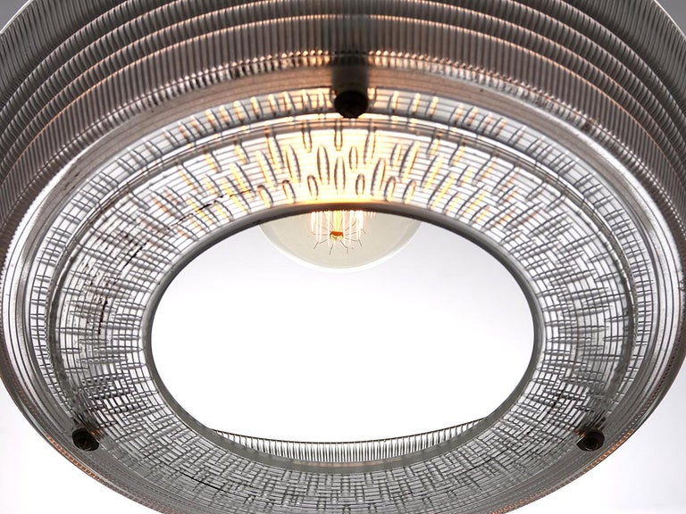 Large Ring Holophane Pendent In Good Condition For Sale In Peekskill, NY