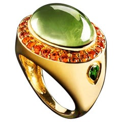 Jane Magon's Large Green Beryl and Orange Sapphire 14 Karat Gold Ring