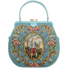Large Robin Egg Blue Needlepoint Handbag With Country French Scene, 1950's