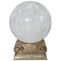 Large Rock Crystal Sphere and Gold Leaf Stand