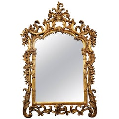 Large Rococo Carved Giltwood Mirror