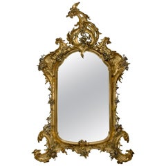 Large Rococo Style Carved Giltwood and Silver Gilt Mirror, circa 1870