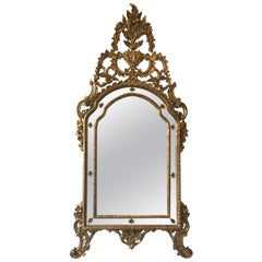 Large Rococo Style Italian Carved Wood Gilt Mirror