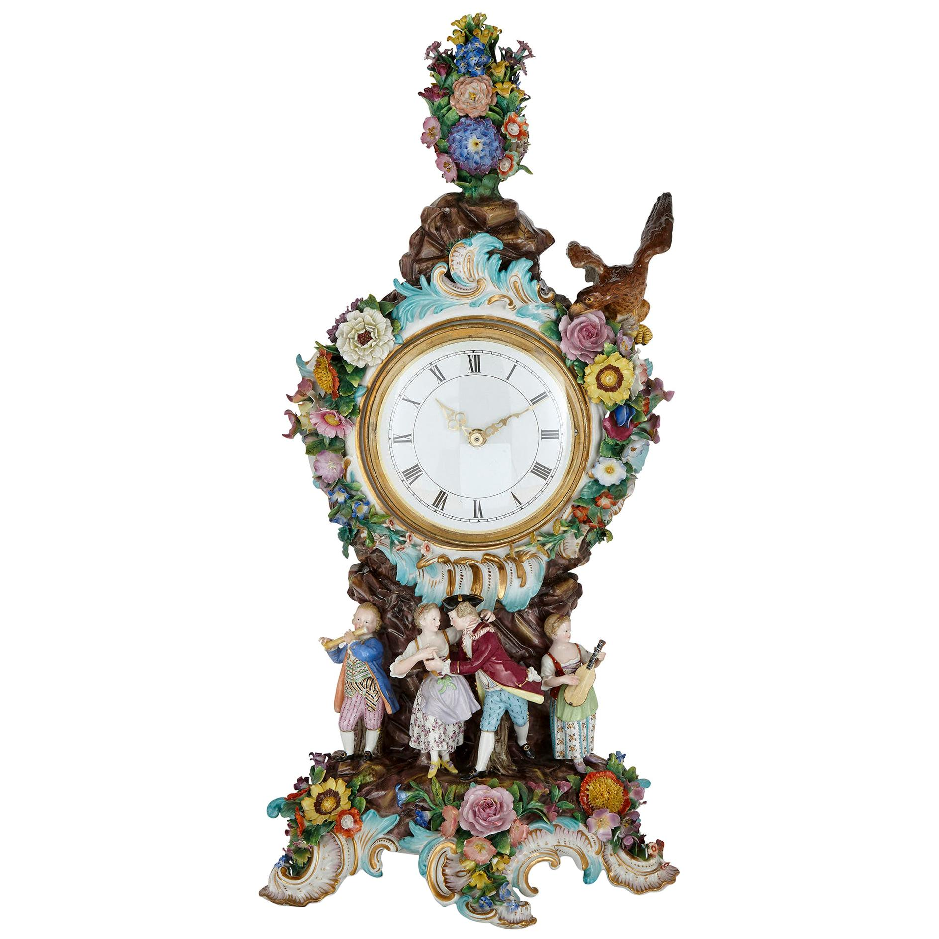 Large Rococo Style Porcelain Mantel Clock by Meissen