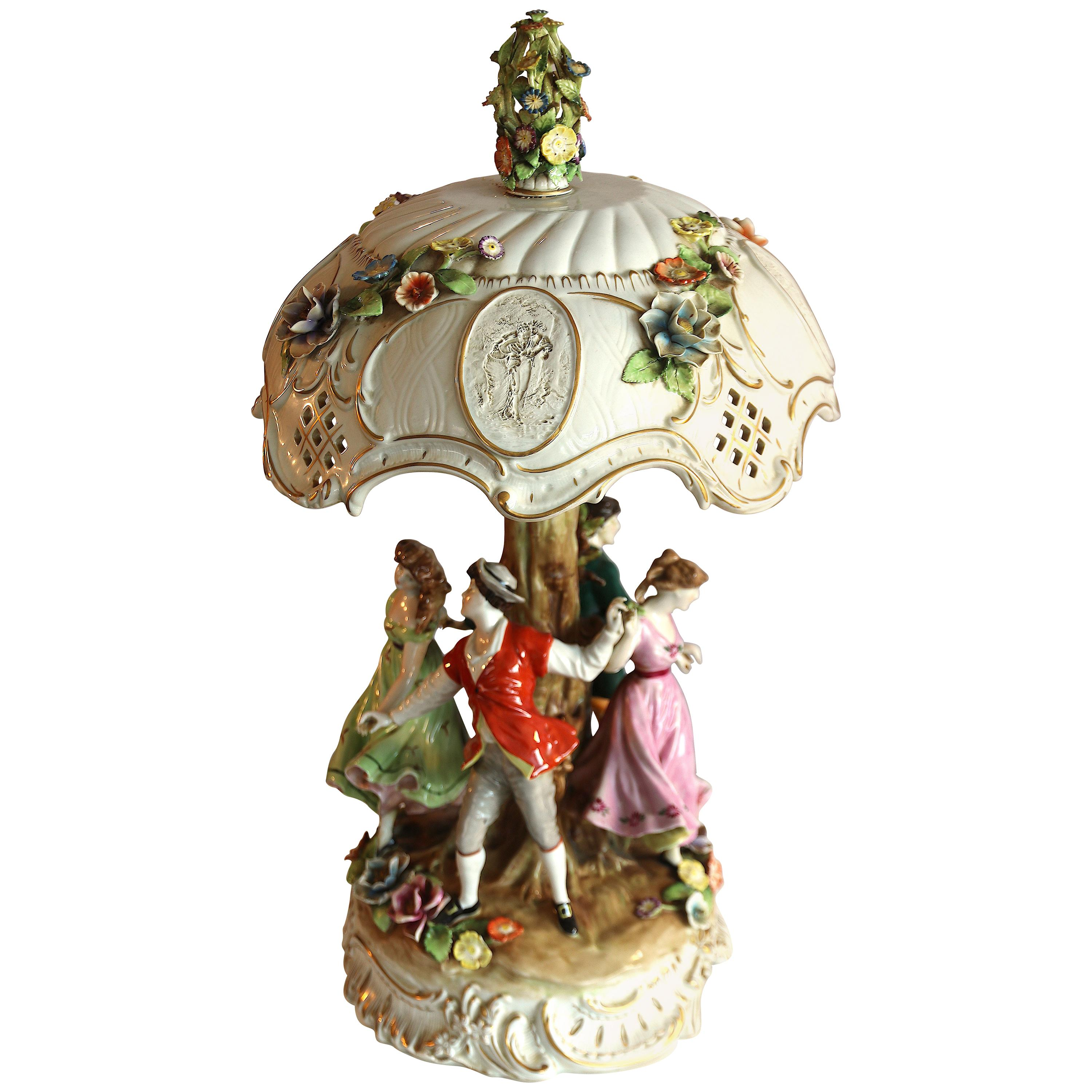 Large Rococo Table Lamp with Porcelain Shade by Capodimonte, Italy
