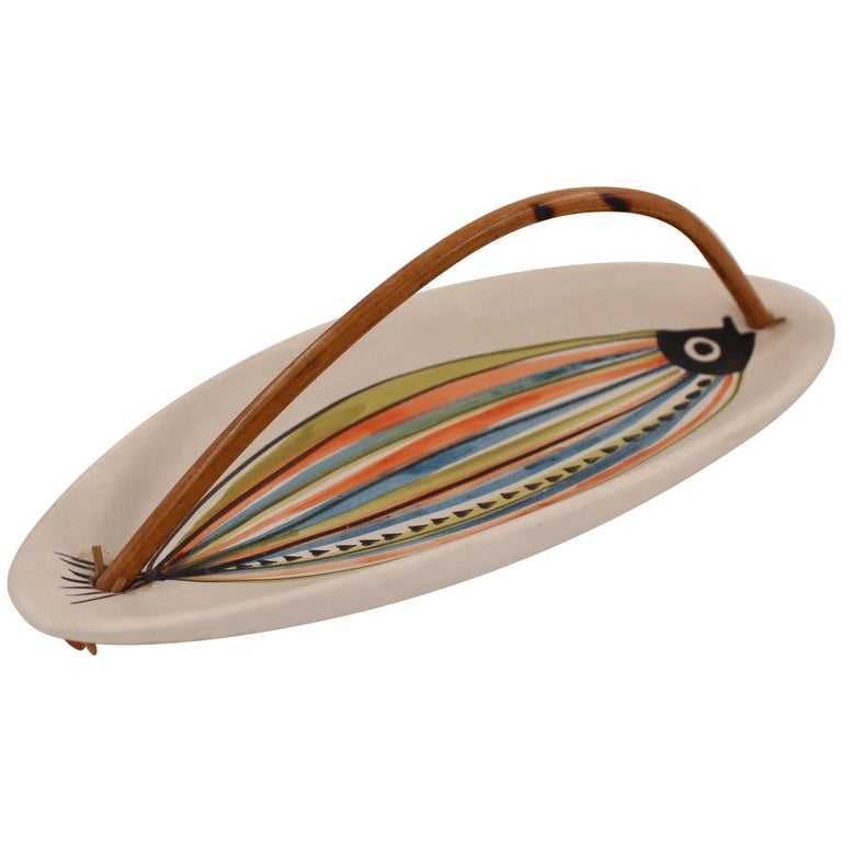 Large Roger Capron Decorative Dish with Bamboo Handle, Vallauris, France, 1950s For Sale