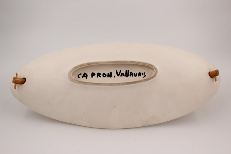Large Roger Capron Decorative Dish with Bamboo Handle, Vallauris, France, 1950s For Sale 3