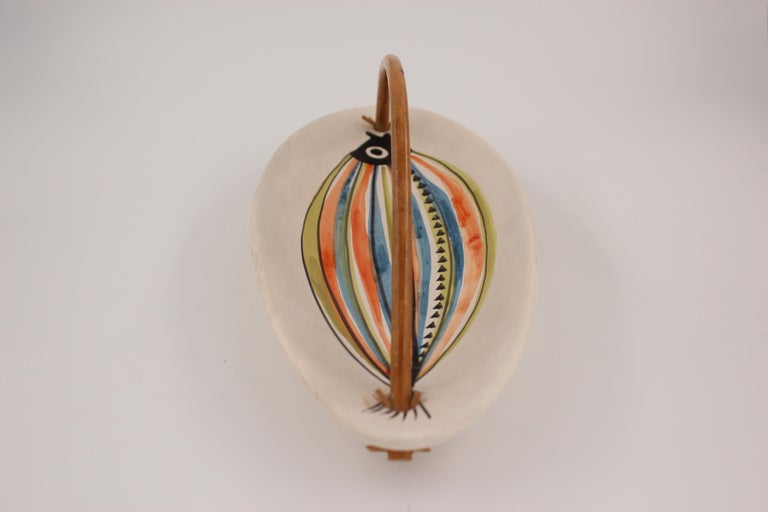 Large Roger Capron Decorative Dish with Bamboo Handle, Vallauris, France, 1950s For Sale 5