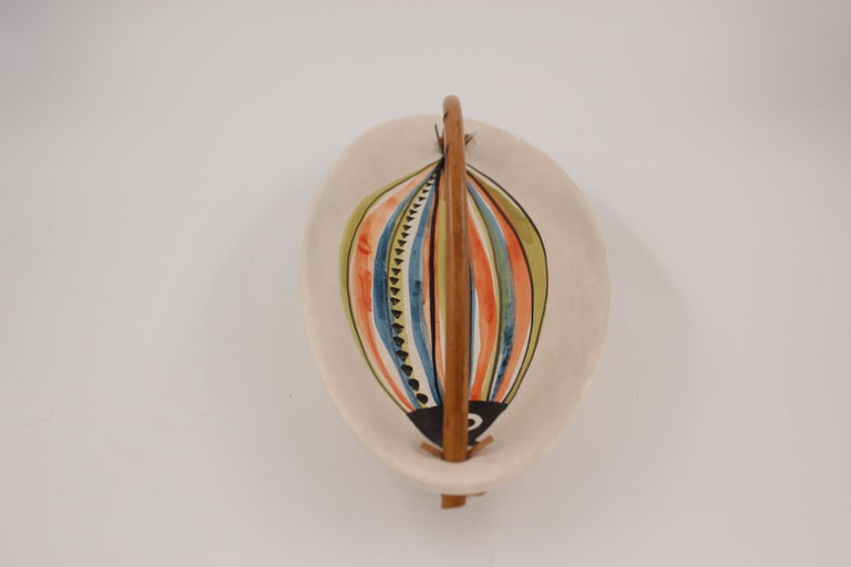 Large Roger Capron Decorative Dish with Bamboo Handle, Vallauris, France, 1950s For Sale 6