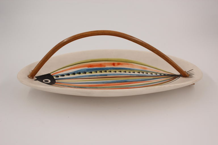Mid-Century Modern Large Roger Capron Decorative Dish with Bamboo Handle, Vallauris, France, 1950s For Sale