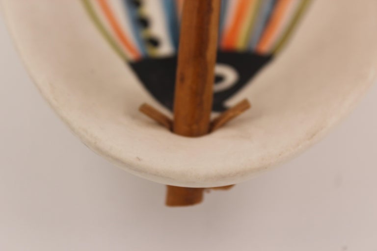 Large Roger Capron Decorative Dish with Bamboo Handle, Vallauris, France, 1950s For Sale 1