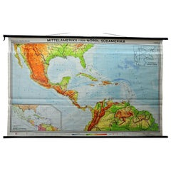 Large Rollable Map Central America Northern South America Wall Chart Poster