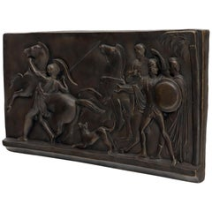 Large Roman or Greek Battle Scene Heavy Fiberglass Plaque Bronze Patina