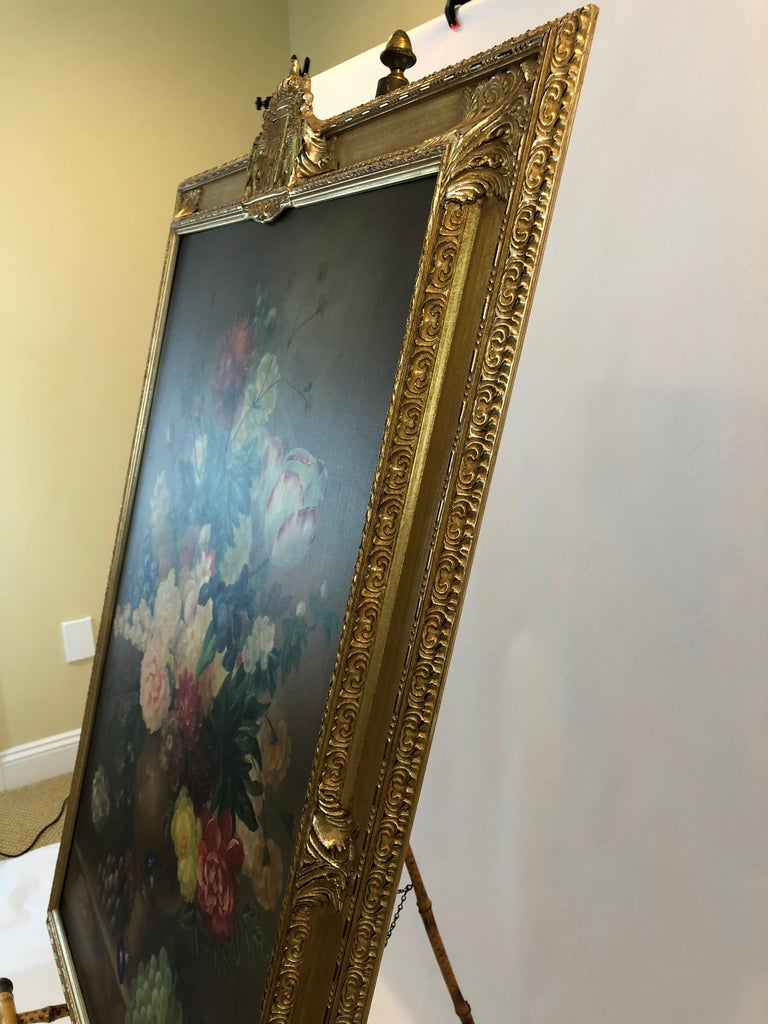 Large Romantic Floral Still Life in Magnificent Gilded Frame For Sale 4