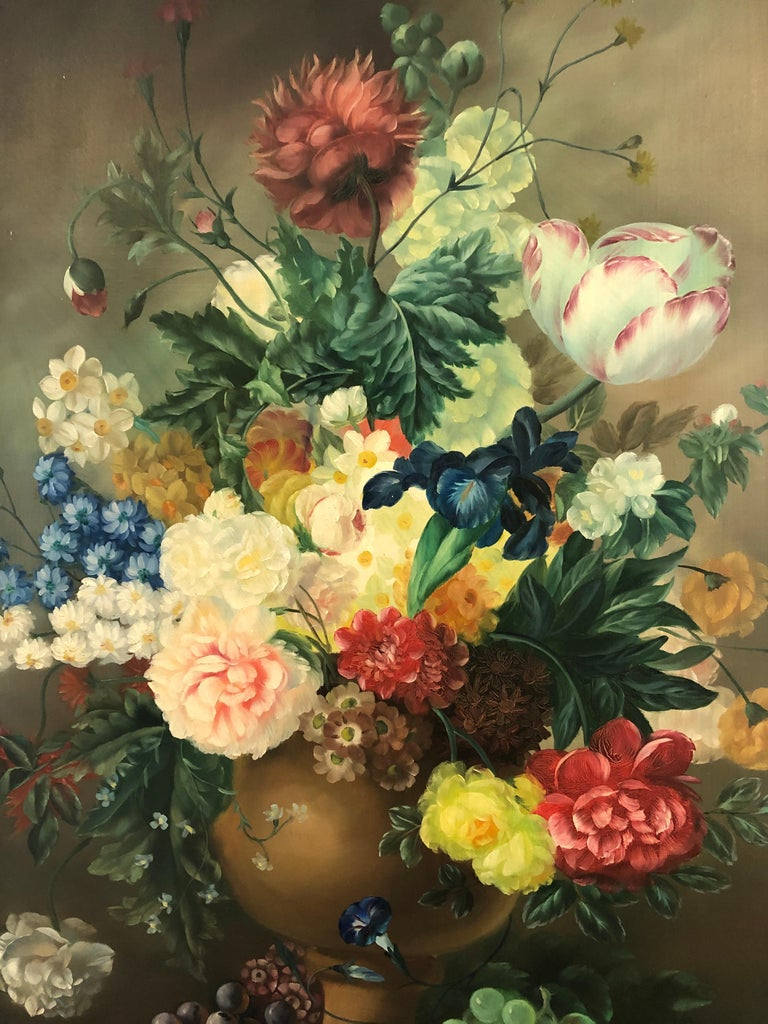 North American Large Romantic Floral Still Life in Magnificent Gilded Frame For Sale