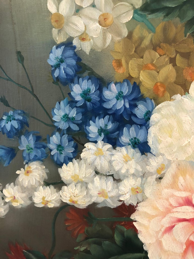 Canvas Large Romantic Floral Still Life in Magnificent Gilded Frame For Sale