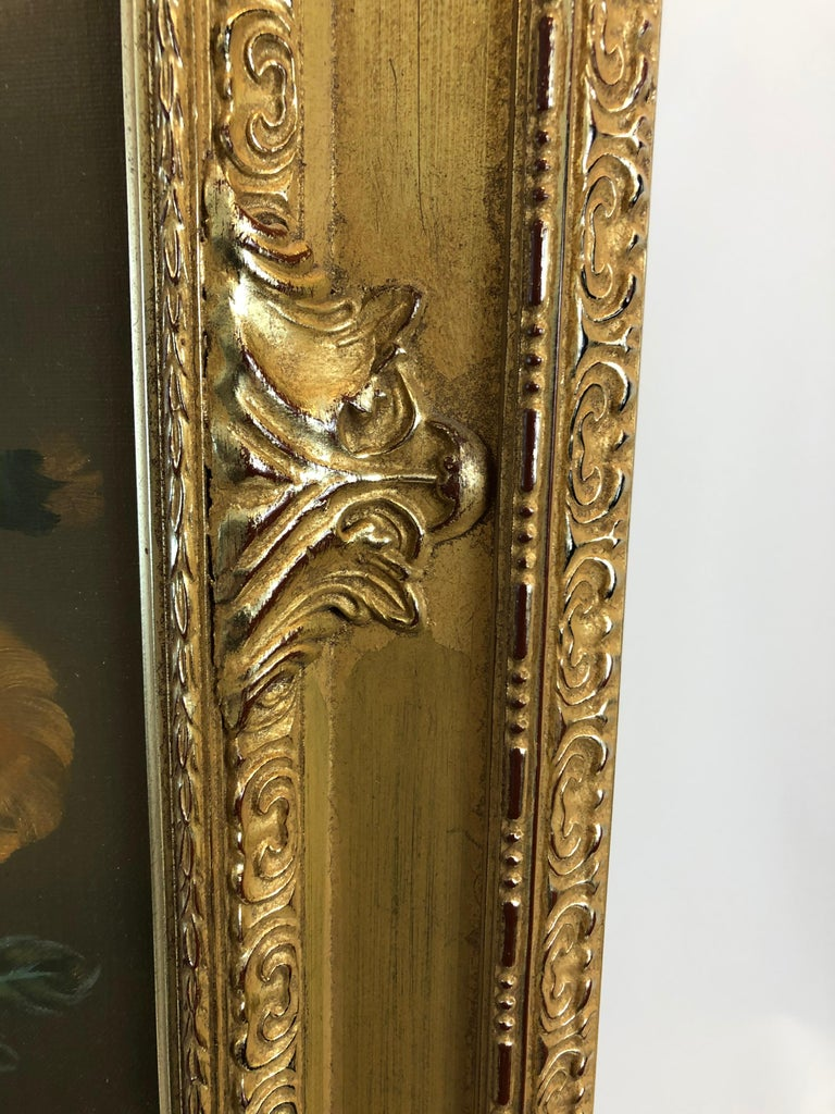 Large Romantic Floral Still Life in Magnificent Gilded Frame For Sale 3