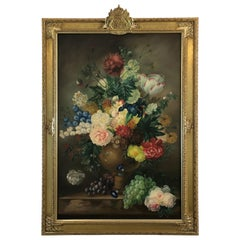 Large Romantic Floral Still Life in Magnificent Gilded Frame