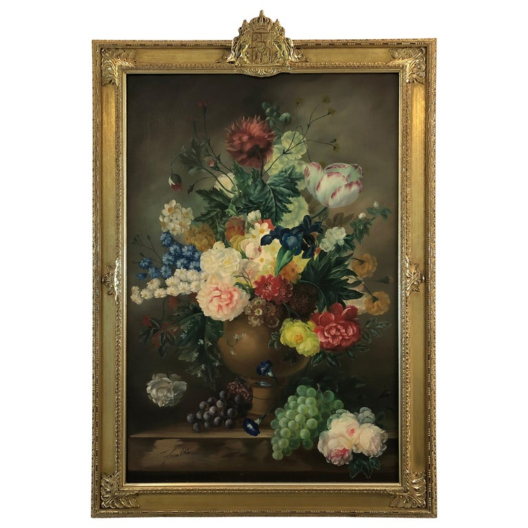 Large Romantic Floral Still Life in Magnificent Gilded Frame For Sale